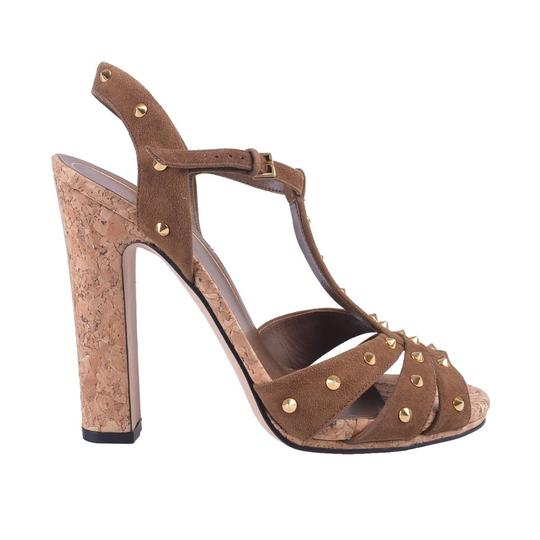 Gucci Studded Suede Brown Sandals Image 2