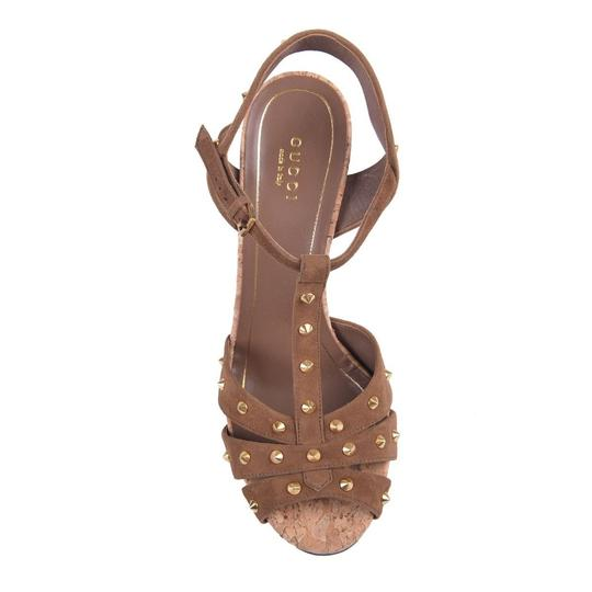 Gucci Studded Suede Brown Sandals Image 3