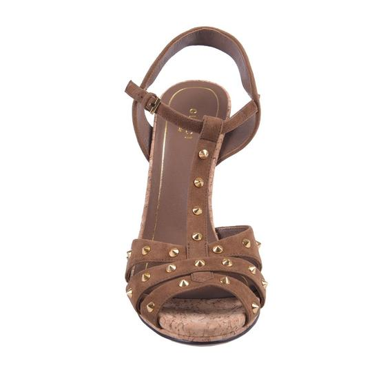 Gucci Studded Suede Brown Sandals Image 4