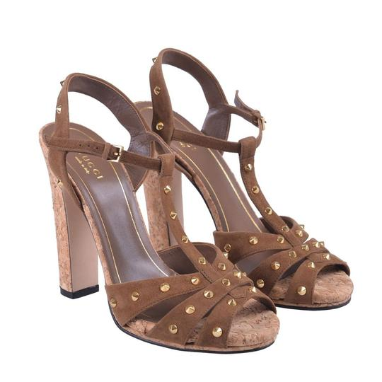 Gucci Studded Suede Brown Sandals Image 7