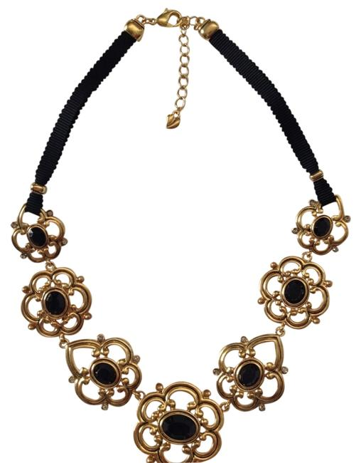 Carolee Black Gold Plated Onyx Ribbon Necklace Carolee Black Gold Plated Onyx Ribbon Necklace Image 1