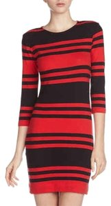 French Connection short dress Red / Black Striped on Tradesy