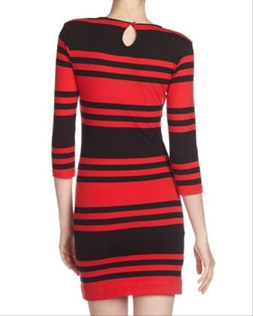 French Connection short dress Red / Black Striped Size 8 on Tradesy