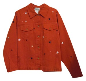 Quacker Factory Red Womens Jean Jacket