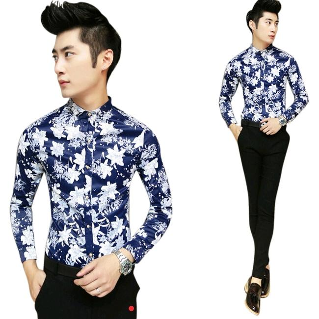 Preload https://item3.tradesy.com/images/blue-men-s-floral-fitted-shirt-button-down-top-size-14-l-3397117-0-0.jpg?width=400&height=650