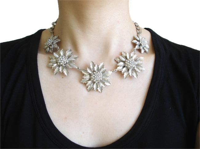 Banana Republic Silver Crystal Flower Statement Necklace Banana Republic Silver Crystal Flower Statement Necklace Image 1
