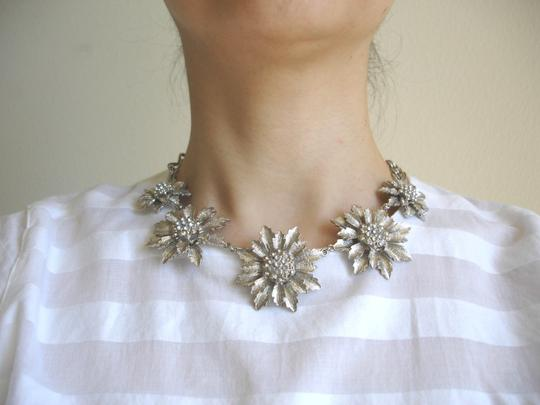 Banana Republic Banana republic silver crystal flower statement necklace