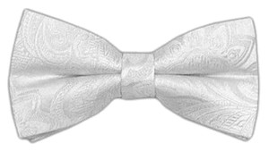Organic White Paisley Bow Tie With Matching Pocket Square