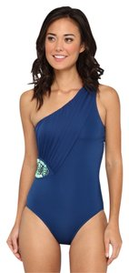 Badgley Mischka Valentina One Shoulder Maillot Steel Blue