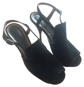 Marni Suede Platform Comfortable Ankle Strap Black Pumps