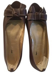 J.Crew Bowtie Brown all leather peep toe Italian Flats