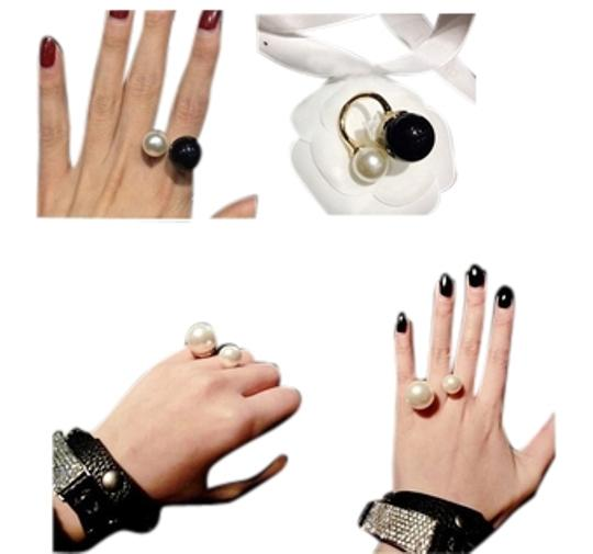 "Other ""Shima"" Black and White Pearl Adjustable Ring"