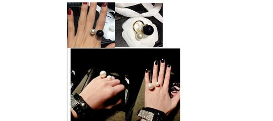 """Other """"Shima"""" Black and White Pearl Adjustable Ring"""