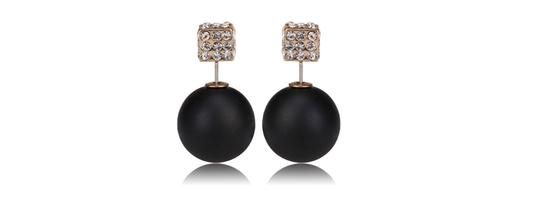 """Other """"Majesty"""" Double sided earrings in Pearl White"""