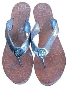 Tory Burch Silver/cork Wedges