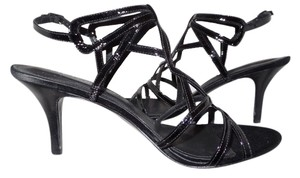 Sigerson Morrison Patent Leather Leather Open Toe Black Sandals