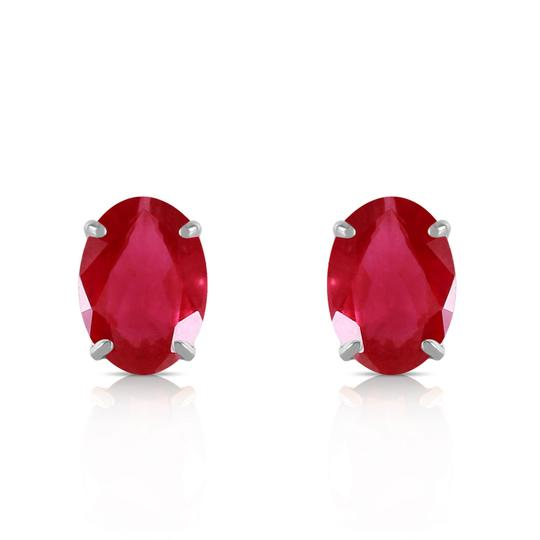 Other 1.8 Carat 14k Solid White Gold & Natural Ruby Stud Earrings