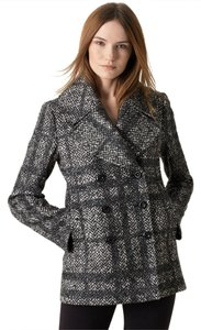Burberry Check Tweed Jacket Herringbone Pea Coat