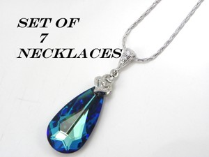 Blue Set Of 7 Bridesmaid Bermuda Swarovski Crystal Teardrop Crystal Peacock Necklace
