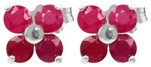 1.15 Carat 14k Solid White Gold & Ruby Stud Earrings