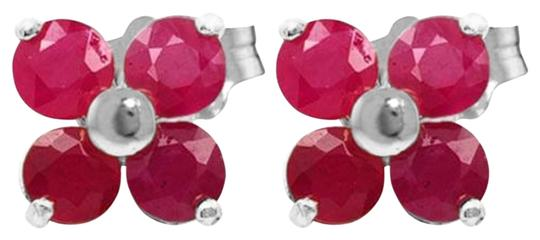 Other 1.15 Carat 14k Solid White Gold & Ruby Stud Earrings