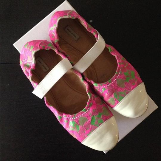 Marc Jacobs Neon Fashion Style Comfortable Lace and patent-leather ballet flats Flats