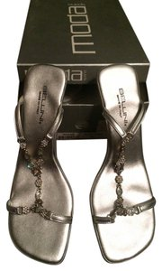 Bellini Bling Sexy Strappy Open Toe Open Back Slip On Summer Dressy Silver Sandals