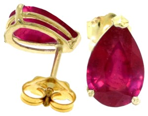 3.5 CT 14k Solid Yellow Gold & Ruby Stud Earrings