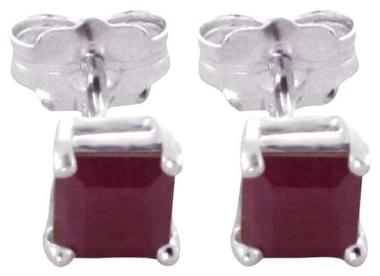Other 0.8 CT 14K Solid White Gold & Red Ruby Princess Cut Stud Earrings