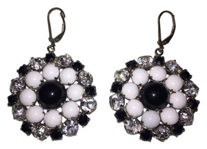 Vintage Black, White and Rhnestone Earrings