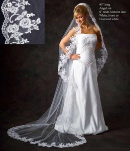 J.L. Johnson Bridals Custom Made Chapel Length Lace Edge Wedding Veil In Diamond White