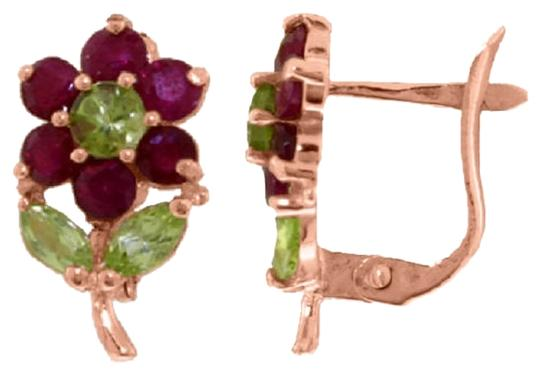 Other 2.12 CT 14K Solid RoseGold Flowers Stud Earrings Ruby Peridot