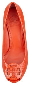 Tory Burch Equestrian Orange Wedges