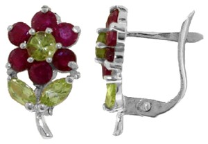 2.12 CT 14K Solid White Gold Flowers Stud Earrings Ruby Peridot