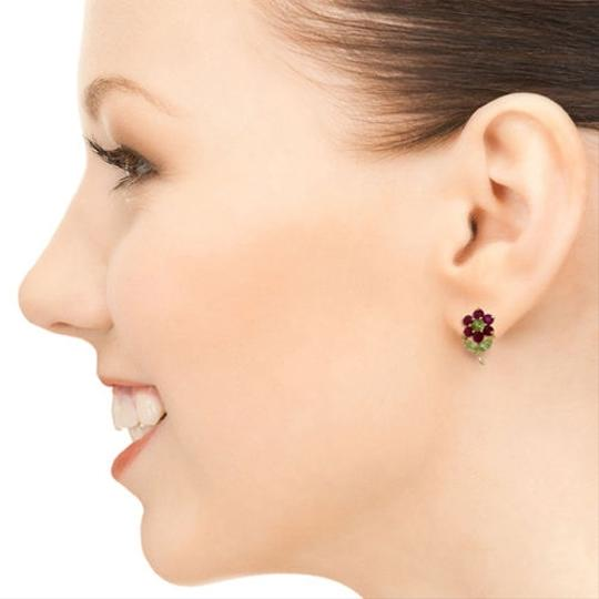 Other 2.12 CT 14K Solid Yellow Gold Flowers Stud Earrings Ruby Peridot