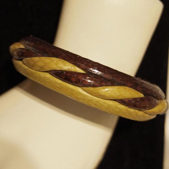 Other Vintage 80s Two Tone Twisted Python Wrapped Snakeskin Bangle Bracelet