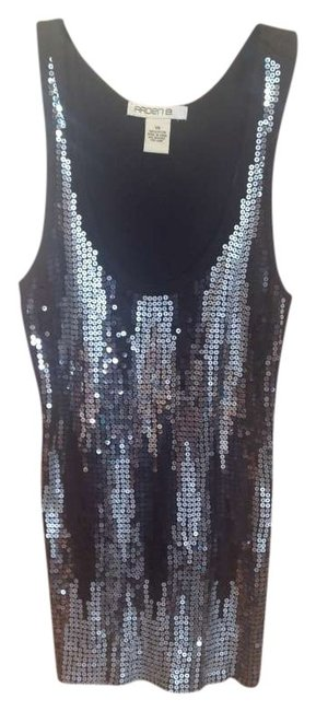 Arden B Holida Holiday Top Black with silver sequins