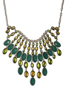 Lucky Brand Lucky Brand Necklace Semi Precious Green Stone Bib Necklace JLRY0044 Silver Tone