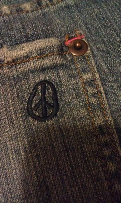 OlsenBoye Boyfriend Shorts Peace Sign Denim Shorts-Distressed
