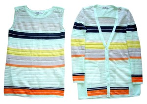 96 Linen Stripes Shell Set Summer Tunic Long Cardigan