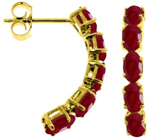 2.5 CT 14K Solid Yellow Gold & Rubies Stud Earrings