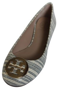 Tory Burch PIANO STRIPE BLUE GOLD 475 Flats