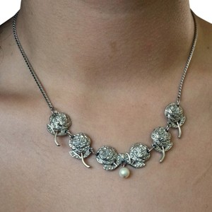 Vintage Art Deco Sterling Marcasite Roses & Cultured Pearl Drop Necklace Bridal
