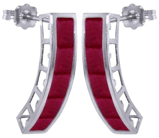 Other 5 CT 14K Solid White Gold & Natural Red Ruby Gemstone Stud Earrings