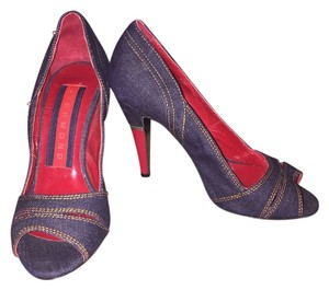 John Richmond W/Red Dark Denim w/red heel Pumps