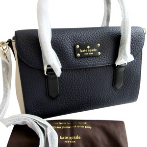 Kate Spade Colorblock Grove Court Leslie Satchel in Navy Blue