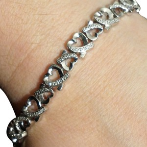 9.2.5 Heavy 925 Sterling Silver Double Heart Hearts Cubic Zirconia CZ Paste Bracelet