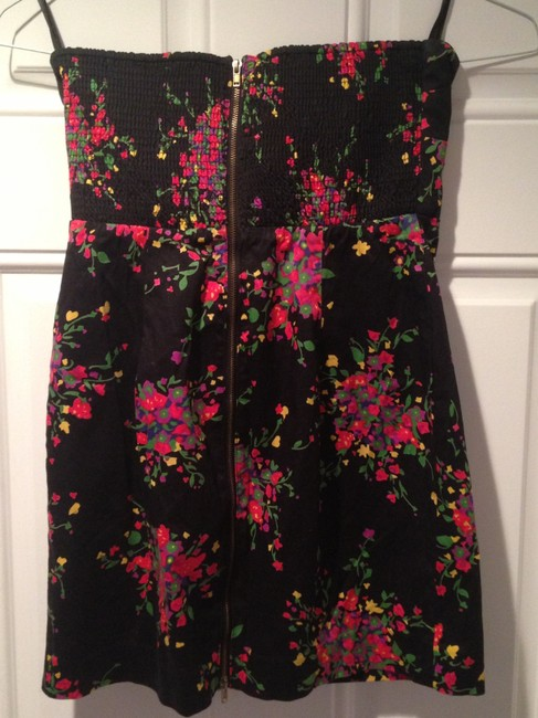 Free People Lbd Minidress Littleblackdress Floral Strapless Dress