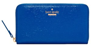 Kate Spade NWT Kate Spade Cedar Street Lacey Patent Blue Continental Accordion Long Zip Around Wallet