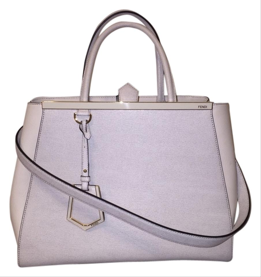 c37ac8380f94 Fendi 2jours Vitello White Saffiano Leather with Soft Leather Tote ...